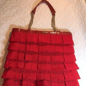 Kate Spade Red Ribbon Fabric Ruffle Purse